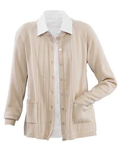 National Classic Cardigan Sweater, Oatmeal, Petite Large