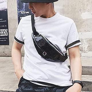 Fashion Single-Shoulder Bags Fashion Smooth Surface PU Single Shoulder Bag Zipper Men & Women Messenger Bag Sports Waist Chest Pockets Bag (Black) (Color : Black)
