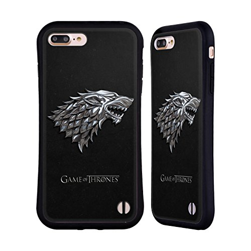Head Case Designs Officially Licensed HBO Game of Thrones Silver Stark Sigils Hybrid Case Compatible with Apple iPhone 7 Plus/iPhone 8 Plus