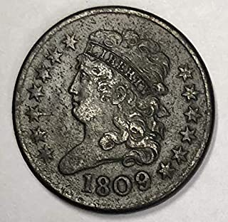1809/6 Classic Head Half Cent 1/2c Very Fine Details - 9 Over Inverted 9