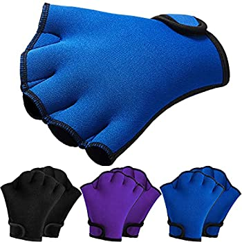 Skylety 3 Paris Swim Gloves Aquatic Fitness Water Resistance Training Gloves Aquatic Fit Webbed Glove for Men and Women Helping Upper Body Resistance  Black Purple Blue M
