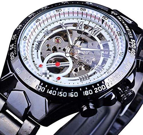 CMXUHUI De moda y elegante, aspecto exquisito, un g mecánico de diseño de bisel dorado reloj para hombre reloj de hombre reloj automático esqueleto reloj 21 cm nuevo negro