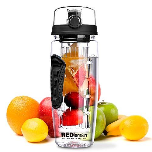 Redlemon Termo de Agua con Infusor de Frutas, Diseño Deportivo y Tapa Hermética Antiderrame, Agarre…