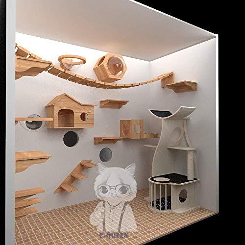 ZHTY Massivholz Katze Wand Katze Klettergerüst Sisalsäule Stoff Katze Klettergerüst Grabbing Board Kratzbaum Katze Wand Klettergerüst