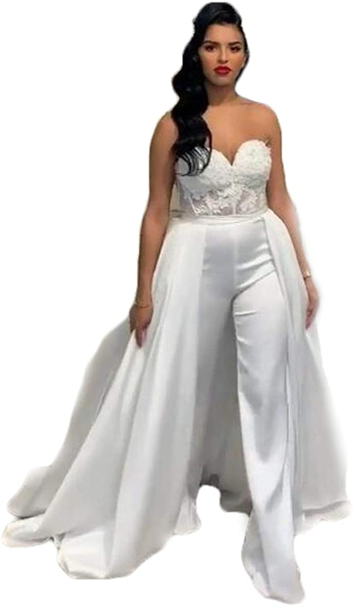 CY Lace Stain Women Wedding Jumpsuit with Removable Skirt Strapless Bride Wedding Gowns with Pant Suit
