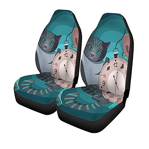Beth-D set van 2 autostoelhoezen Cheshire Cat Op Wonderland Cap Tee zakhorloge Universal Auto Front Seats Protector 14-17IN
