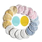 16 Pack Reusable Makeup Remover Pads + Bonus Face Brush, Washable Reusable Cotton Rounds for Cleaning Face Halo Facial Pad Cloth Eye Wipes, Eco-friendly Face Cleansing Wipes for All Skin Types