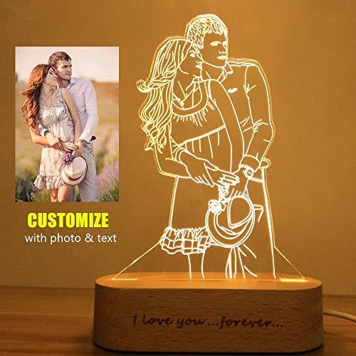 Foto personalizada Luz de noche romántica Bluetooth Luz de cristal LED Luz Nocturna, Lámpara Infantil Mejor regalo para el día de Navidad, regalo de boda, Memorial