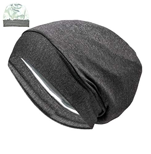 ALEXANDER PRODUCTS Satin Lined Sleep Cap Slouchy Beanie Slap Hat for Natural Curly Girls and Frizzy Hair Cap for Women (Grey)