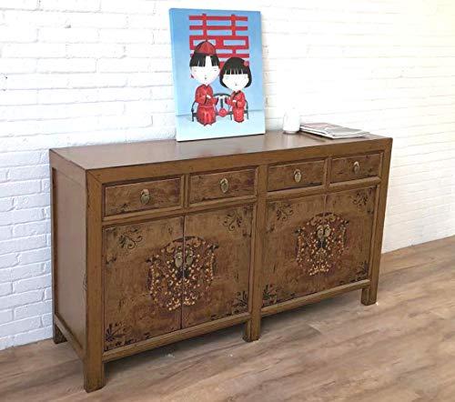 OPIUM OUTLET Aparador chino marrón, estilo oriental, estilo asiático, para boda, estilo antiguo, shabby chic