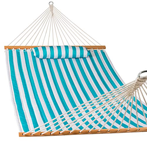 Lazy Daze Hammocks Quilted Fabric Double Hammock with Pillow, Spreader Bar Swing for Two Person, Olive Green/Taupe Stripes