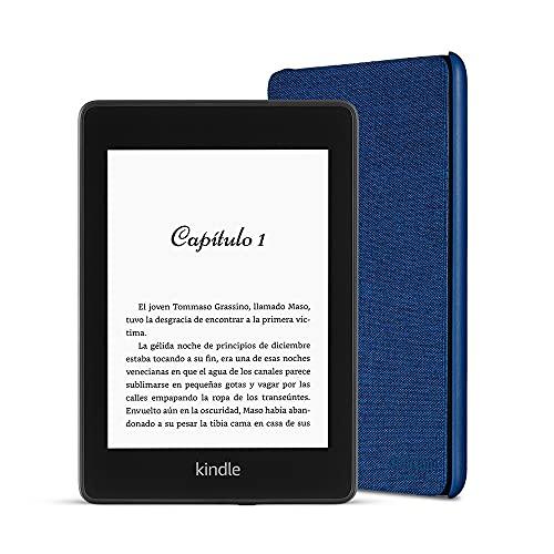 Kindle Paperwhite, 8 GB, con publicidad + Funda Amazon de tela que protege del agua (Azul)