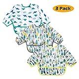 Baby Bibs Long Sleeved 6-24 Months - Waterproof Bibs for Babies - Unisex 3-Pack Full Coverage Apron...