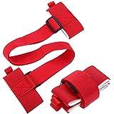 Chuangdi 2 Pezzi Cinturino da Sci e Palo Tracolla Regolabile Cinghia Zaino Ski Rilegatura con Fissaggi da Cuscini Nastro Cinturino per Trasportare(Rosso)
