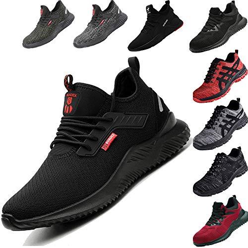 SUADEEX Zapatos de Seguridad Hombre Zapatos de Seguridad Mujer Ligeras Transpirable con Puntera de Acero Zapatos de Trabajo de Industria Unisex,1620 Negro,41EU