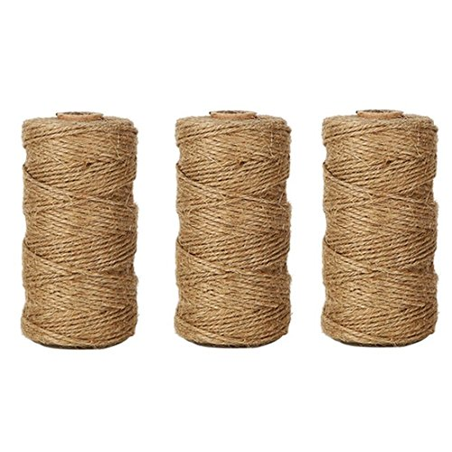 Natural Jute Twine String 3 PcsX328 Feet Arts Crafts Christmas Holiday Gift Twine Packing String