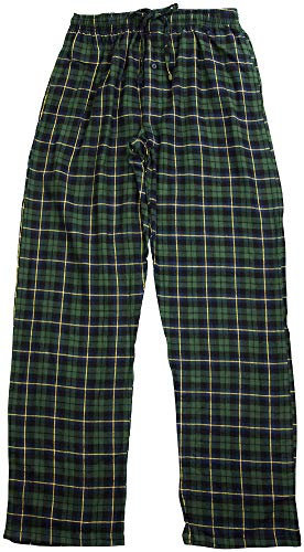Hanes Men's Plaid Flannel Lounge Sleep Pant, Navy, Green 41520-Large