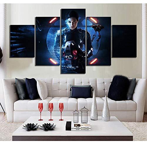 VENDISART,Impresiones sobre Lienzo,Modular Decoración De Pared Póster,5 Piezas Cuadro,Película De Ciencia Ficción Star Wars Poster,con Marco,Talla:150 * 80Cm