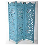 Casa Moro Orientalischer Holz-Paravent Raumteiler Fayek 152x182 cm blau 3 teilig aus massiv Mango Holz & MDF | Kunsthandwerk Pur | Trennwand als Raumteiler & schöne Dekoration | PV5530