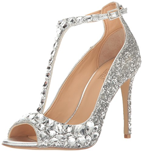 Jewel Badgley Mischka Women's Conroy Dress Sandal, Silver Glitter, 7.5 M US