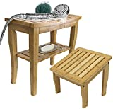 Sorbus Bamboo Shower Bench Deluxe Set - Includes Wooden Shower Seat with Storage Shelf + Foot Stool, Great for for Bathroom, Spa, Sauna