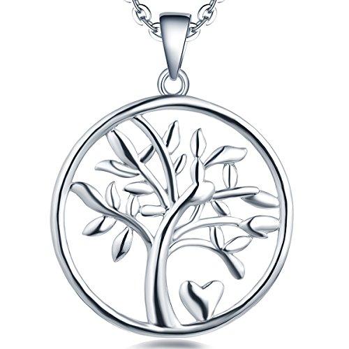 YL Lebensbaum Kette Damen-925 Sterling Silber Halskette Stammbaum Herz Anhänger Kette für Frauen Mädchen Mutter, Kettenlänge 45-50 cm