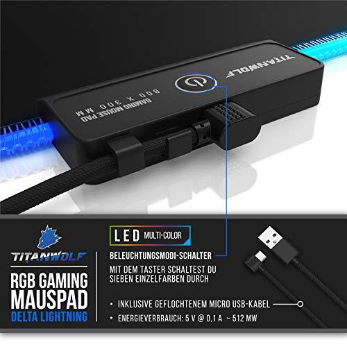 CSL-Computer Titanwolf - RGB Gaming Mauspad - LED Schreibtischunterlage - 800x300 mm - XXL Mousepad - LED Multi Color - 11 Beleuchtungs-Modi - 7 LED Farben Plus 4 Effektmodi - abwaschbar