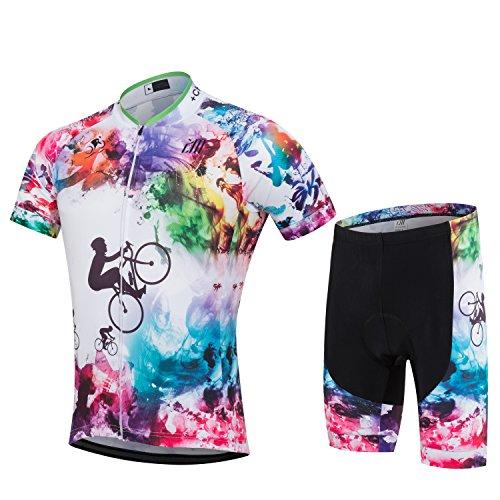サイクリングジャージ サイクルウェア 自転車ウエア 上下セット 半袖 パッド付き 高伸縮性 吸汗 速乾 通気 (マルチカラー, L, l)
