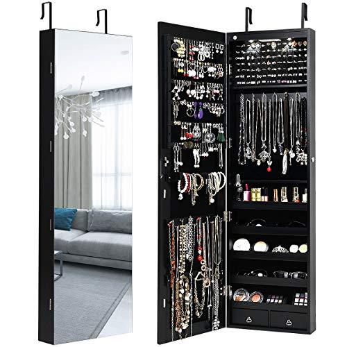 Giantex Armario para joyas con LED, estantería para joyas con espejo de cuerpo entero, armario de pared con cerradura para collares, pendientes, colgar en la puerta (negro)