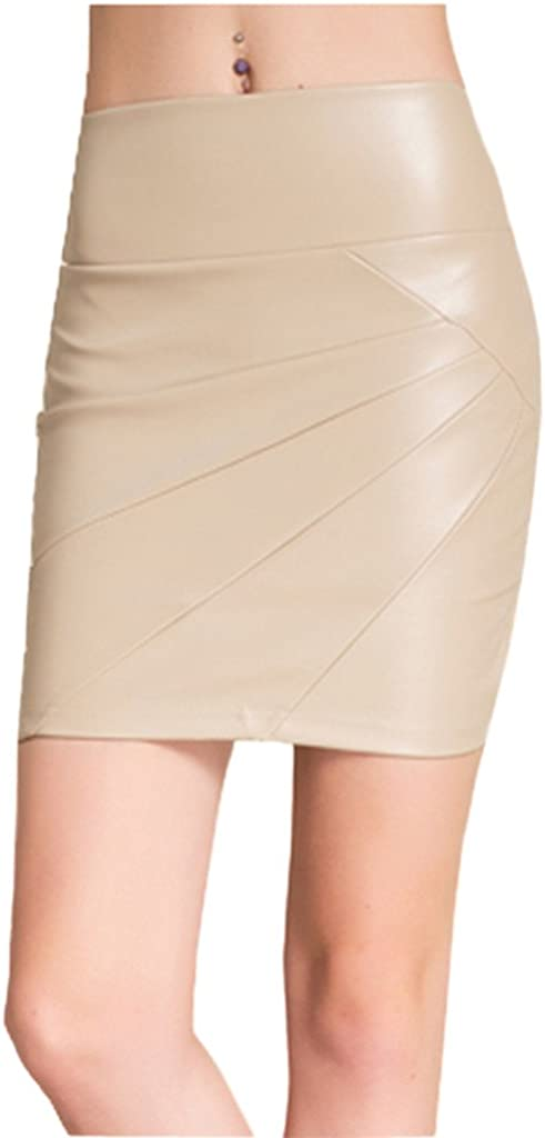 Sosite Women Leather Mini Skirts Pleated Pencil Faux Leather Skirts
