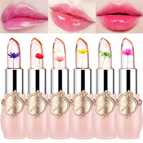 Flower Lip Gloss Crystal Jelly Lipstick, 6 Packs Long Lasting Nutritious Lip Balm Lips Moisturizer Magic Temperature Color Change Lipgloss (pink)