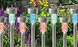 Babz Haut-parleurs 10x couleur changeante Énergie solaire en acier inoxydable LED Jardin lampes rechargeables
