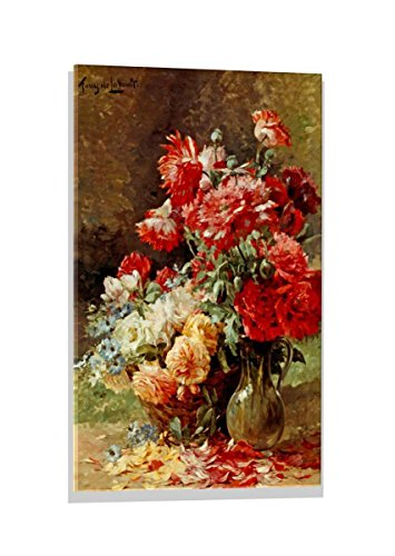 Kunst für Alle Image sur Verre: Albert Tibule Furcy de Lavault Vase mit Pfingstrosen und Korb mit Blumen, Image de Haute qualité, Impression d'art Brillante sur Verre Pur, 50x70 cm