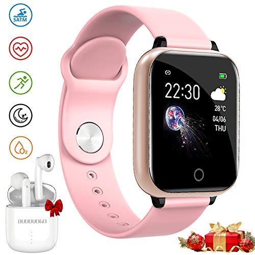 Smartwatch Offerta Del Giorno, Impermeabile DUODUOGO K8 Bluetooth Smartwatch per uomo Donna Bambini Compatibile Android iOS, Tracker Attività Fitness Con Cardiofrequenzimetro (K8-Rosa)