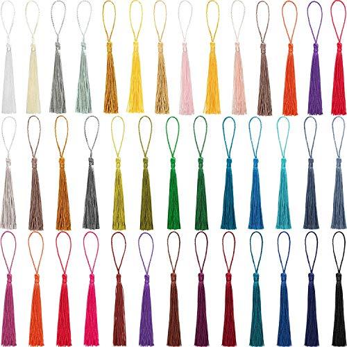Homkeen Handgefertigte seidige Quasten, Quasten, Lesezeichen, Quaste, Anhänger, Seil, Quaste mit Schlaufe, 39 Farben, 120 Stück