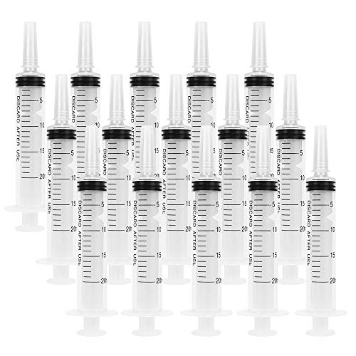 HYCKee 15 Pack 20ml Plastic Syringe with Cap, Multiple Uses Measuring Syringe Tools for Labs and Essential Oil