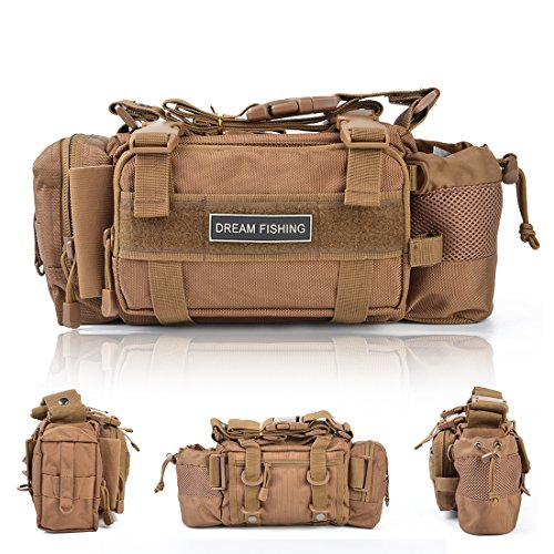 BLISSWILL Portable Outdoor Fishing Tackle Bags Waist Fishing Bag Fishing Gear Storage Bag Water-Resistant Multifunctional Bag Fly Fishing Bag Durable Handbag Bags for Fishing(Khaki)
