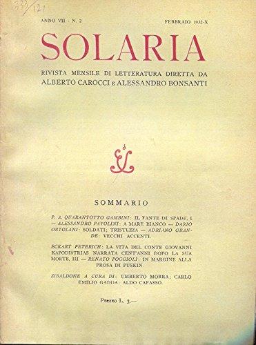 A MARE BIANCO, poesia (sul numero 3 del febbraio 1932 - pagina 25- della rivista SOLARIA)