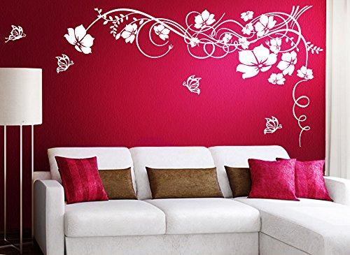 Grandora Wandtattoo Blumenranke & Schmetterlinge I weiß (BxH) 190 x 104 cm I Wohnzimmer Schlafzimmer Sticker Aufkleber Wandaufkleber Wandsticker W829