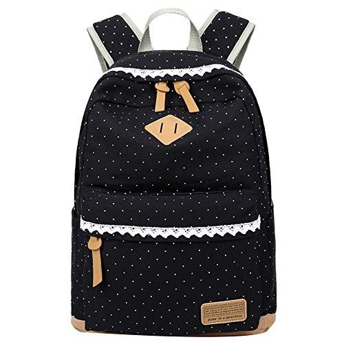 Mädchen Segeltuch Rucksack Lace Polka Punkt Schulrucksack Süße und Moderne Schultasche Große Kapazität für Schule Outdoor Camping Ausflug (Schwarz)