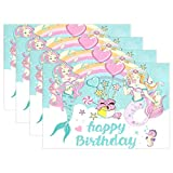 Happy Birthday Mermaid Balloon Set de 6 manteles individuales Alfombrilla resistente al calor Lavable resistente a las manchas Alfombrillas antideslizantes para cocina,12X18 in