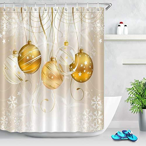 Cinta Estrella Bola navideña Cortina de Ducha de baño,poliéster Impermeable y de Secado rápido,patrón de Alta definición,12ganchos,183x183cm