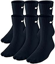 Nike Kids Performance Cotton Cushioned Crew Socks Large (shoe size 5Y-7Y) (Black) Package of 6