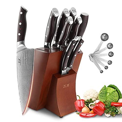 10 Pieces Kitchen Damascus Knife Set, chef Knife professional with block, Wood Ergonomic Handle Triple Rivet Solid For Chef Knife Set, Knife Sharpener, Kitchen Shears, Beechwood Storage Block