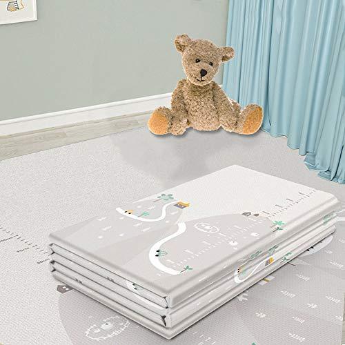Arkmiido Baby Spielmatte,Matte Spielmatte Verdickte Vergrößerte Schaumstoffmatte Faltbare Krabbelmatte Wasserdicht Tragbar Geeignet für Kinder(XPE Material, 200 * 180cm) (Grau)