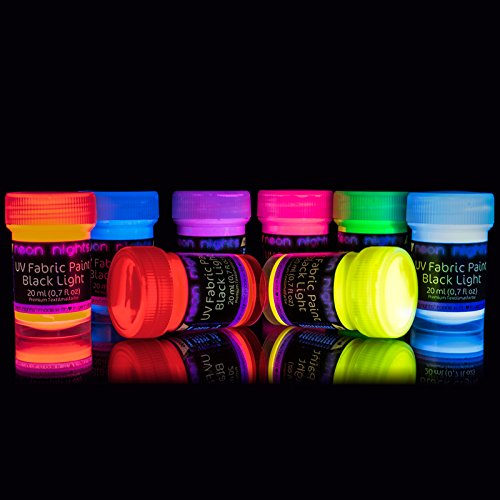 neon nights 8 x UV Fabric Paint Set Fluorescent for Clothing - Vibrant Ultraviolet Textile...