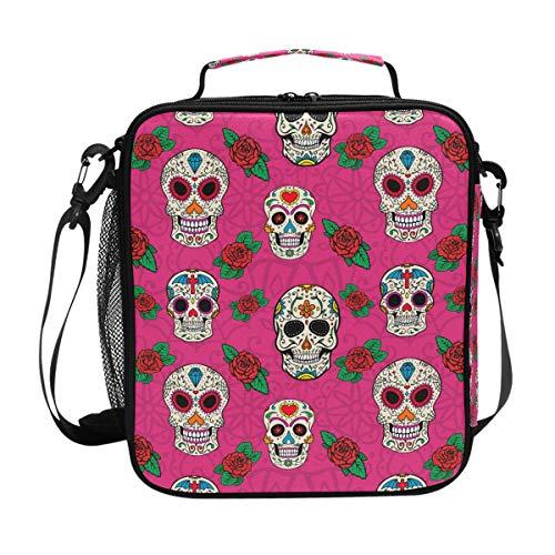 Sac fourre-tout carré, sac fourre-tout pour voyage, pique-nique, école, punk, gothique, tête de mort, rose