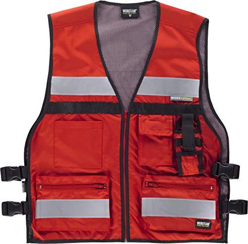 Work Team Chaleco de alta visibilidad con ajustes laterales, multibolsillos, dos cintas reflectantes. HOMBRE Rojo UNICA