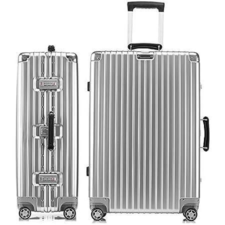 lanbao スーツケース アルミフレーム 軽量 キャリーケース 耐衝撃 キャリーケース 機内持込 キャリーバッグ 人気 大型 TSAロック付 静音 旅行出張 ヘアライン仕上げ 3年保証 (シルバー, S)