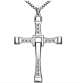 Jewelry Necklace - Silver Fast & Furious Rotatable Crystal Toretto's Charm 70x40mm Cross Necklace With Snake Chain for Gifts -Experience Price Limited Time (M)